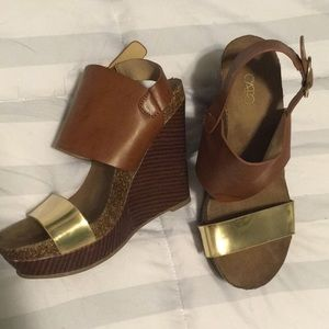 Boho chunky wedge sandals